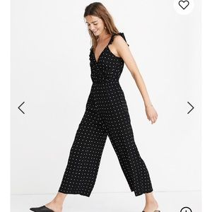 NWT Ruffle-front Wrap Jumpsuit in Grid Dot